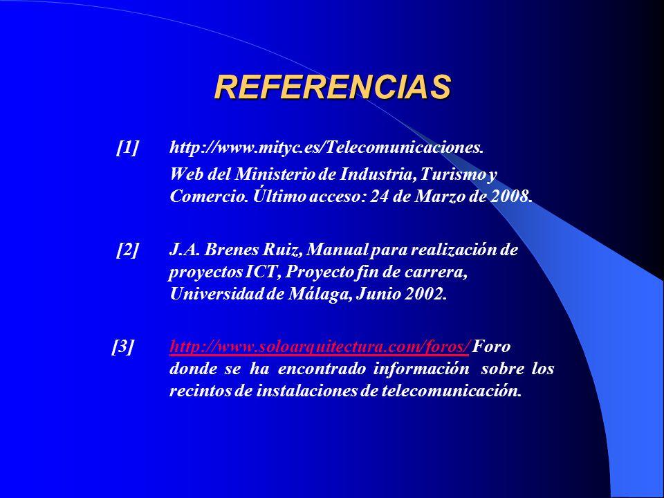 REFERENCIAS [1] http://www.mityc.es/Telecomunicaciones.